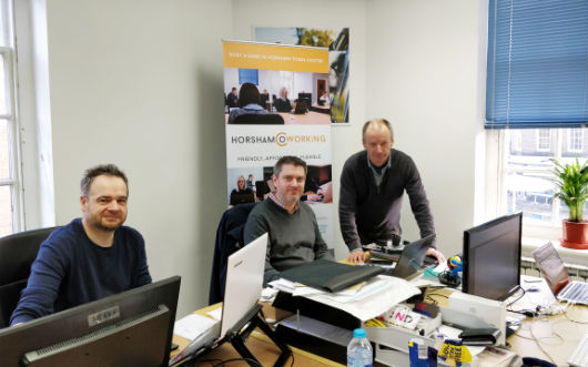 Roger, Matt and Clive in the Horsham Coworking office